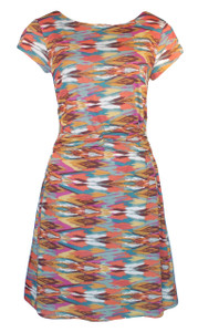Multi colored geometric southwest print twist belt dress