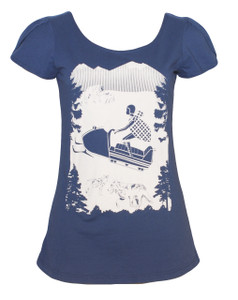 Navy adventurous snowmobile girl festive winter tee