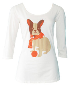 Off white orange brown Boston Terrier French bulldog tee