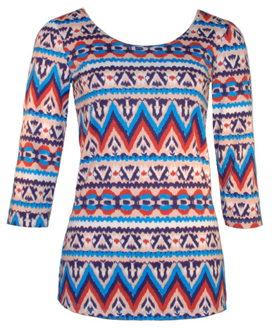 Ikat tribal print scoop neck ballet top