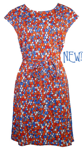 Red blue orange geometric honeycomb print cotton/modal belted tunic