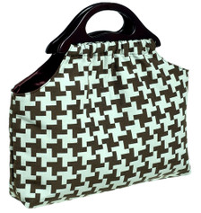 Aqua Brown Houndstooth Upholstery Fabric Knitting Bag