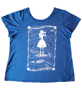 Medium blue white whale watcher short sleeved tee