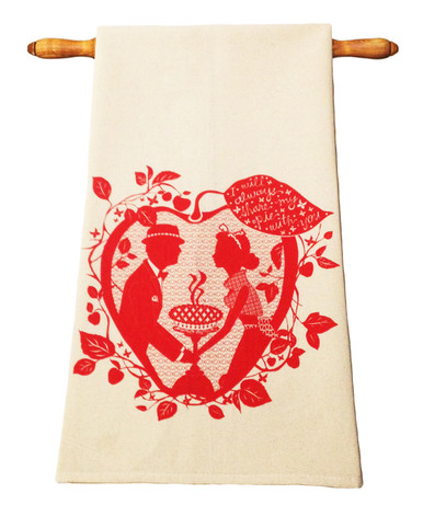 Valentine's Day gift love pie red apple tea towel