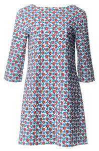 Blue Red Rosebud 3/4 Sleeve Mod Scoop Back Tunic Dress