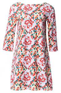 Geometric quilt print 3/4 sleeve scoop neck tunic dress