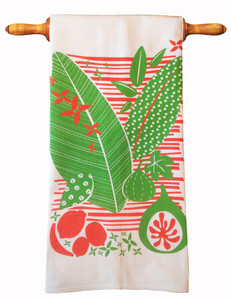 Bright orange green white fruit leaves kitchen tea towel