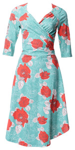 Bright pink aqua and white big peony floral knit surplice wrap dress