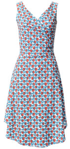 Blue red rosebud flower floral print sleeveless knit wrap dress