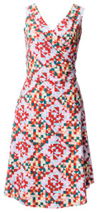 Geometric multi colored green peach red triangle quilt print sleeveless wrap dress