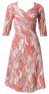 Multi colored leaf print sleeveless cotton blend knit surplice wrap dress