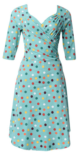 Jade green polka dot sleeved surplice wrap dress