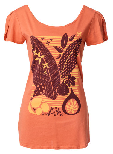 Orange yellow brown tropical leaves plants fruit cotton short-sleeve shirt