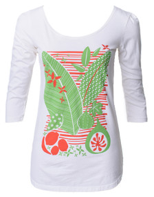 Off-white bright orange green floral leaf fruit print 3/4 sleeve scoopneck tee