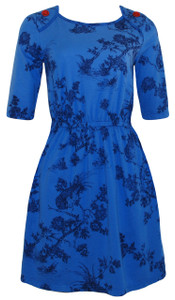 Blue navy toile red buttons elastic waist knee length knit dress with pockets