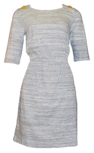 White grey heather elastic waist sleeved knit dress with yellow buttons and pockets
