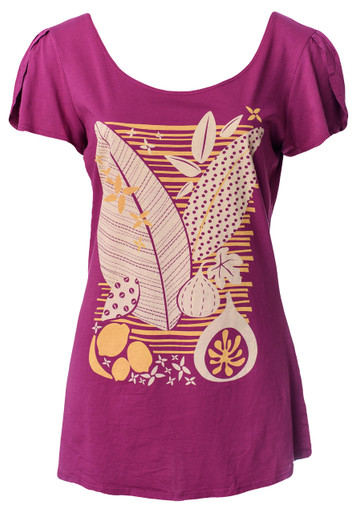 Purple berry yellow white leaf fruit print flutter sleeve cotton knit top