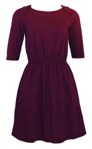 Deep plum purple burgundy elastic waist knee-length dress with pockets and button details