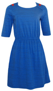 Sapphire blue red buttons short sleeve elastic waist knee length casual knit dress