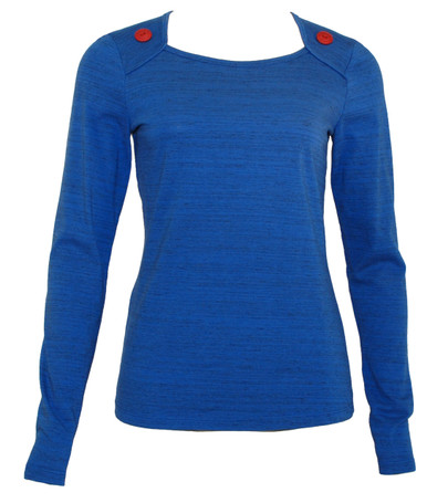 Medium blue heather long-sleeve shirt with red button trim