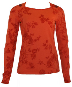 Orange toile long-sleeved tee with chocolate brown buttons