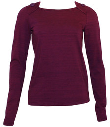 Deep plum purple buttons long-sleeve tee