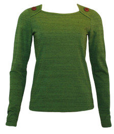 Olive green long-sleeve buttons tee