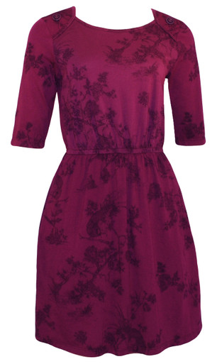 Plum birds toile floral print elastic waist knee length knit dress with buttons