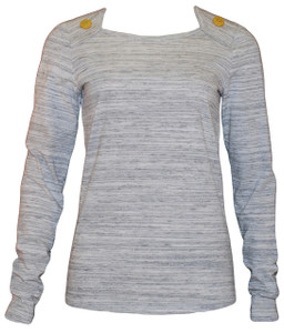 Grey and white heathered long sleeve tee with yellow buttons
