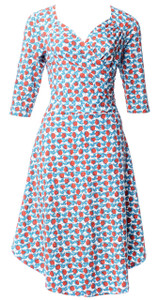 Blue red white rosebud sweetheart sleeved surplice knit wrap dress