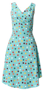 Green polka dot sleeveless surplice wrap knit midi dress