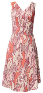Peach yellow brown white leaf leaves floral tribal print dress