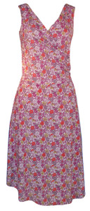 Pretty Purple Petunias Sleeveless Surplice Wrap Dress
