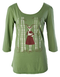 Olive green brown white deer girl scoopneck cotton tee