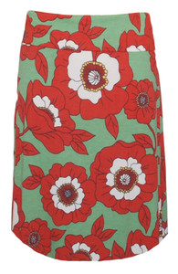 Green orange white poppy print skirt