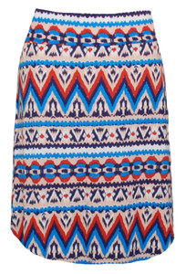 Ikat ethnic print knee-length knit skirt