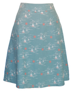 Aqua peach white sailboat rwb a-line woven skirt