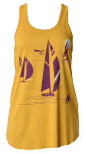 Gold plum purple sailboat racerback tank top