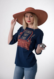 Navy white red estate sale day graphic boatneck 3/4 sleeve tee