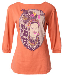 Orange Carmen Miranda vintage fruit basket print boatneck 3/4 sleeve tee top shirt