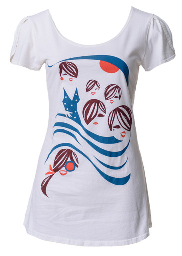 White red brown navy beach girls t-shirt