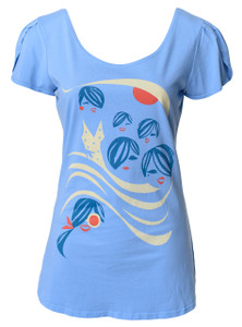 Periwinkle navy red white beach girls t-shirt