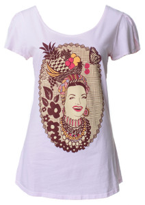 Light pink Carmen Miranda fruit hat cotton short sleeved tshirt