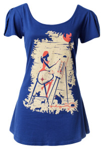 Navy blue white red artist graphic flutter sleeve artist print scoop neck tee top