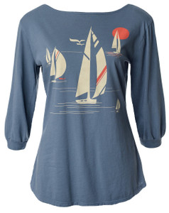 Grey vintage inspired nautical sailboat beach ocean 3/4 sleeve boatneck 3/4 sleeve tee