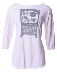Light pink gray fish tank aquarium nautical print boatneck 3/4 tee