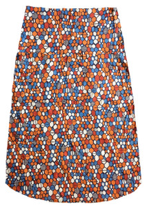 Blue orange white red honeycomb geo print knit knee length skirt