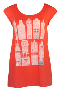 Women's orange cap-sleeved graphic London print cotton swing top tee