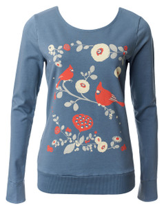 Fluttering Friends French Terry Top in Gorgeous Grey