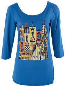 Blue yellow red vintage board game chess checkers cotton tee top